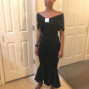 off the shoulder maxi black and white dress